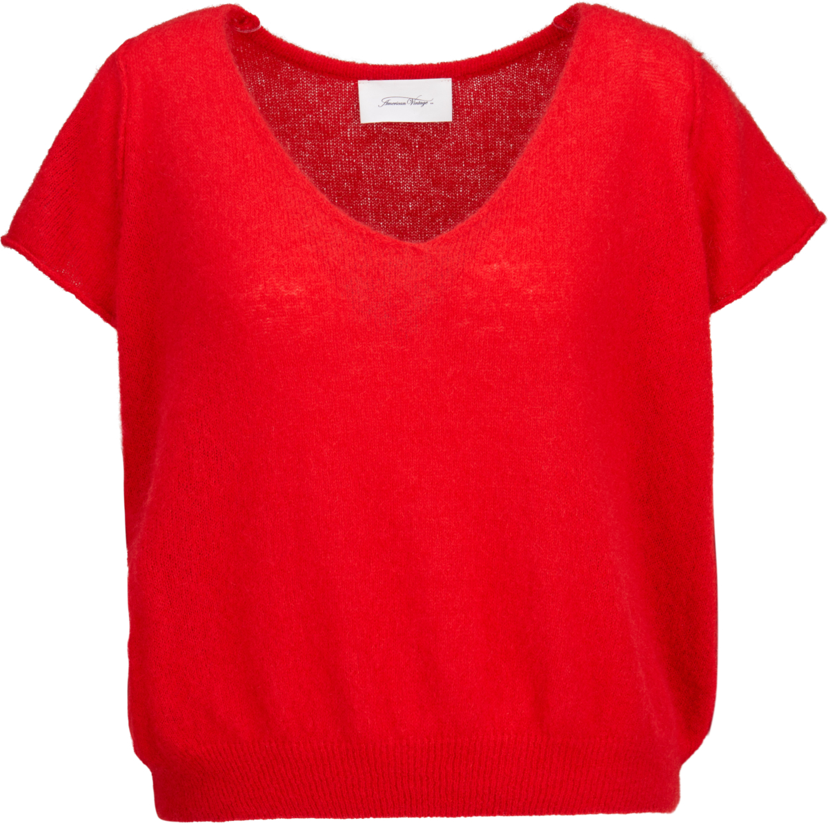 American Vintage Kurzarm-Pullover in Rot 434553